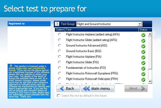 GroundSchool CFI Test Selection Screen