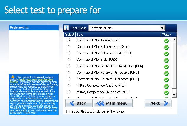 GroundSchool Commercial Pilot Test Selection Screen