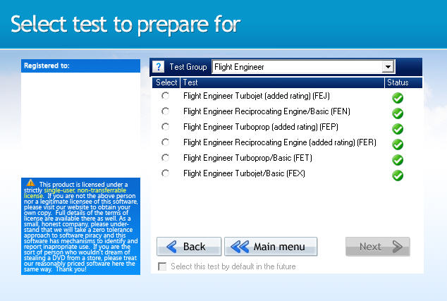GroundSchool FLIGHTENGINEER Test Selection Screen