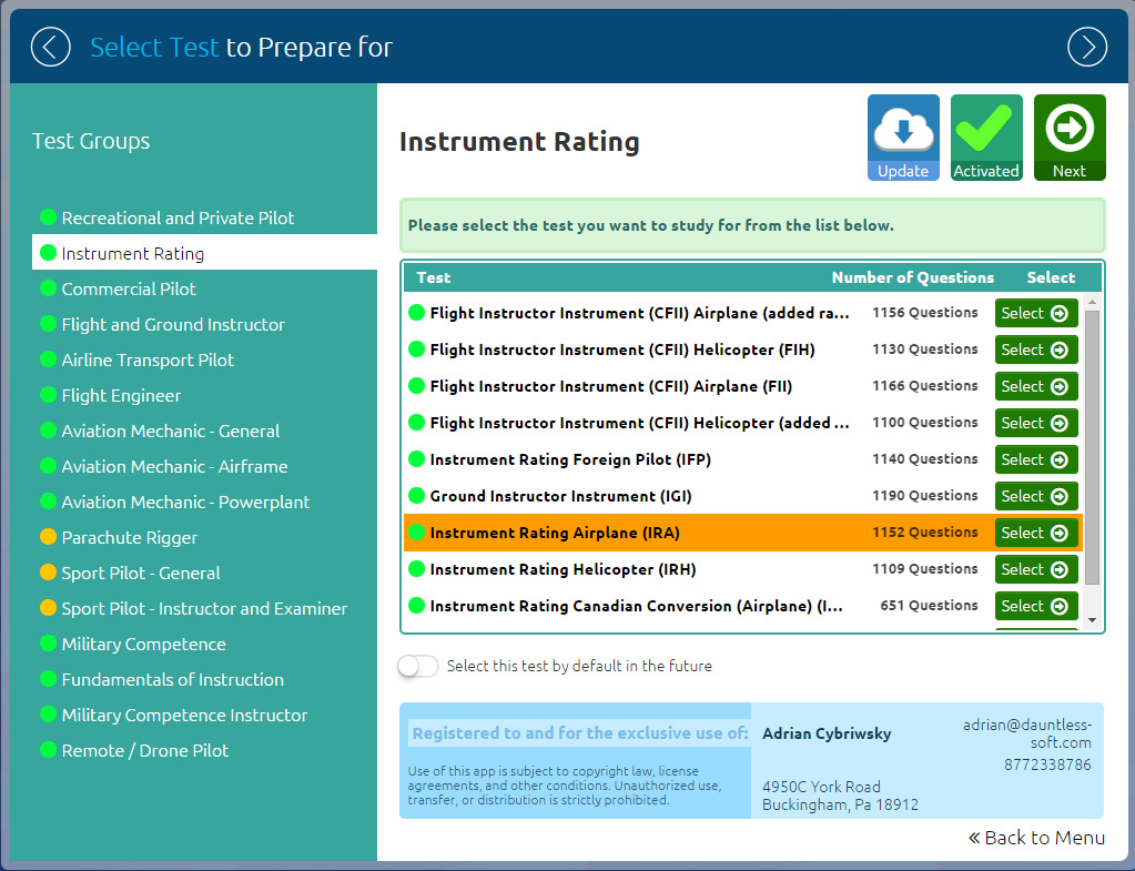 GroundSchool IFR (Instrument Rating) Test Selection Screen