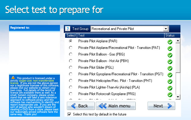 GroundSchool PRIVATE Test Selection Screen