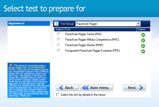 GroundSchool RIGGER Test Selection Screen