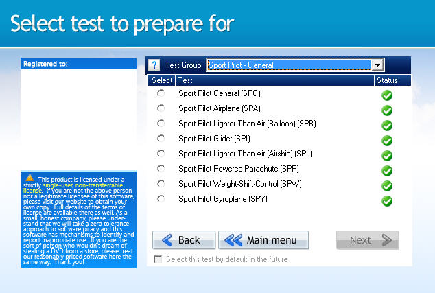 GroundSchool SPORTPILOT Test Selection Screen
