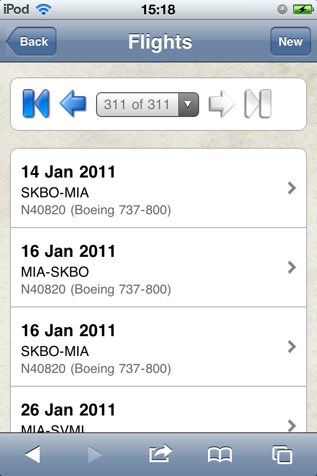 Safelog Pilot Logbook iPhone/iPad Web Portal Screenshot 3
