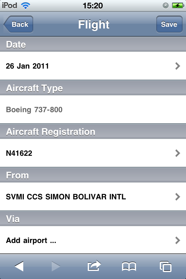 Safelog Pilot Logbook iPhone/iPad Web Portal Screenshot 4