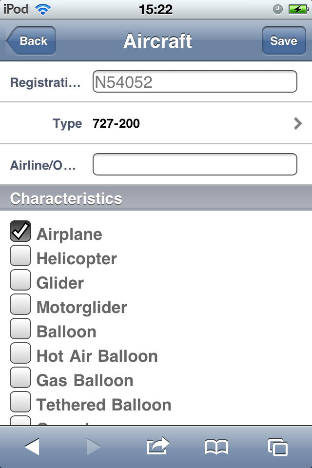 Safelog Pilot Logbook iPhone/iPad Web Portal Screenshot 6