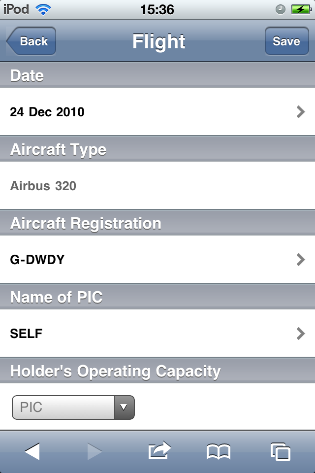Safelog Pilot Logbook iPhone/iPad Web Portal Screenshot 16