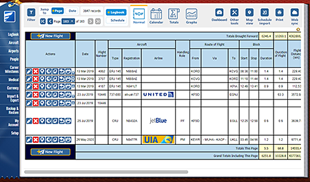 Safelog Pilot Logbook Mac Screenshot 1