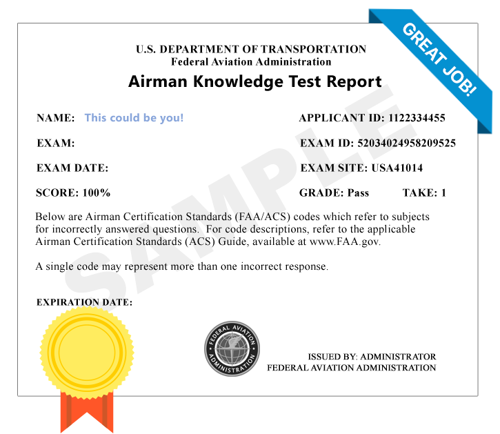 FAA Private Pilot Airplane (PAR) Knowledge Test Score Results